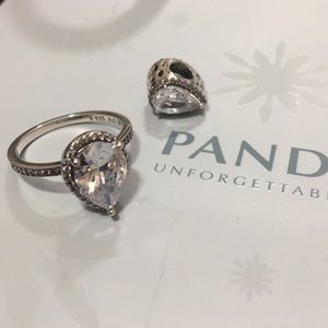 Year drop ring and charm